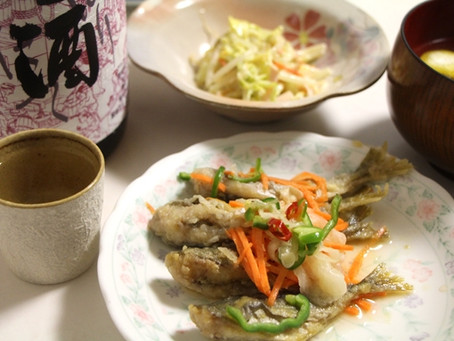 鯵の南蛮漬け・メギスの団子汁・豚ひき肉とジャガイモのつくね風 「大江山しぼりたて生酒」