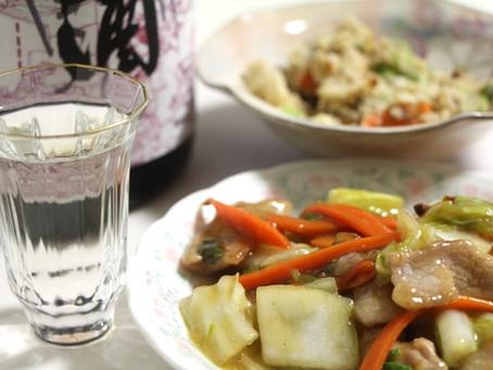 白菜と豚ヒレのうま煮 大江山しぼりたて生酒