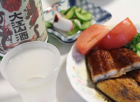 「大江山蔵出し純米酒」と鰻のかば焼き
