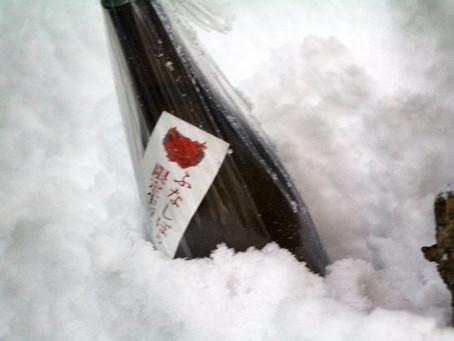 雪で冷やした大江山しぼりたて生酒&おでん