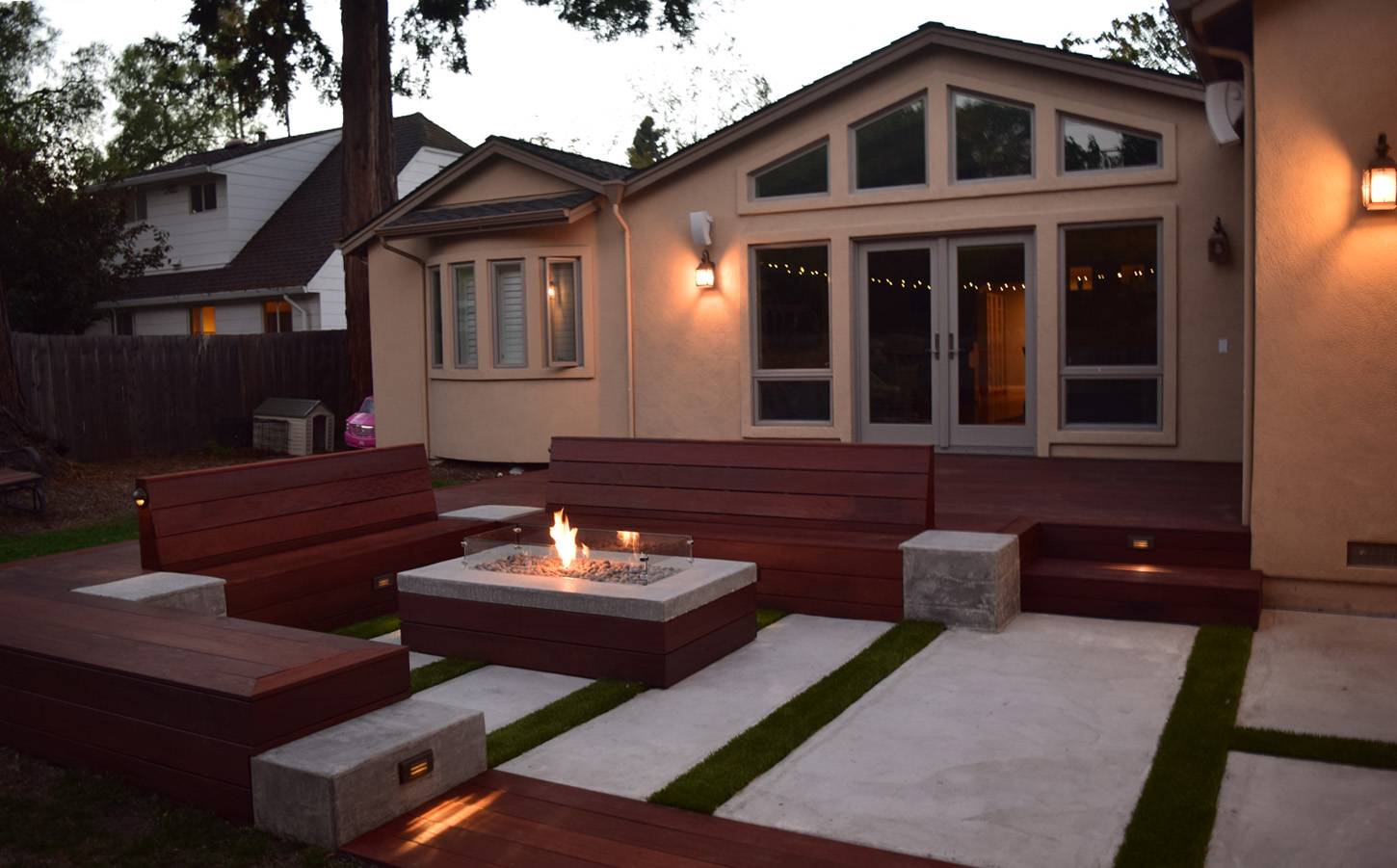 IPE Deck, fire pit, concrete patio