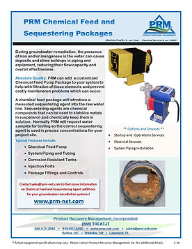 PRM can provide a Chemical Feed Pump and Sequestering Agent to your system to help prevent fouling and clogging of your water treatment process.