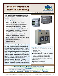 PRMTelemetry packages are availablefor data collection and monitoring controls panels.