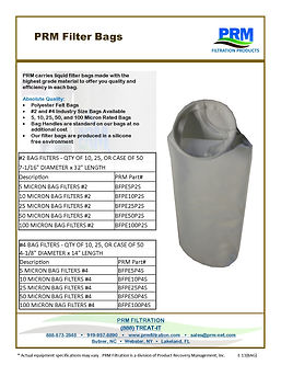 PRM Filter Bags for Filter Housings