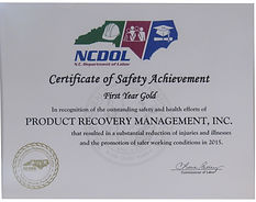 NCDOL Certificate of Safety Achievement