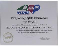 NCDOL Certificate of Safety Achievement