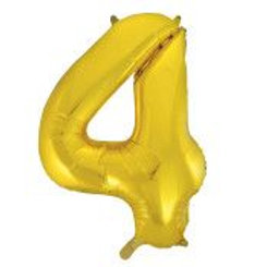 "Foil 34"" Number Balloon - Gold 4"