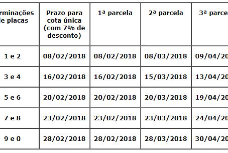 Confira o calendário do Licenciamento 2018 em Pernambuco