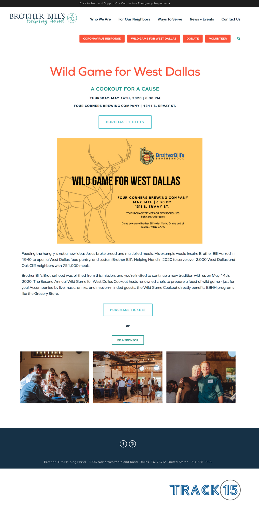 Brother Bill's Helping Hand Landing Page: Wild Game Event