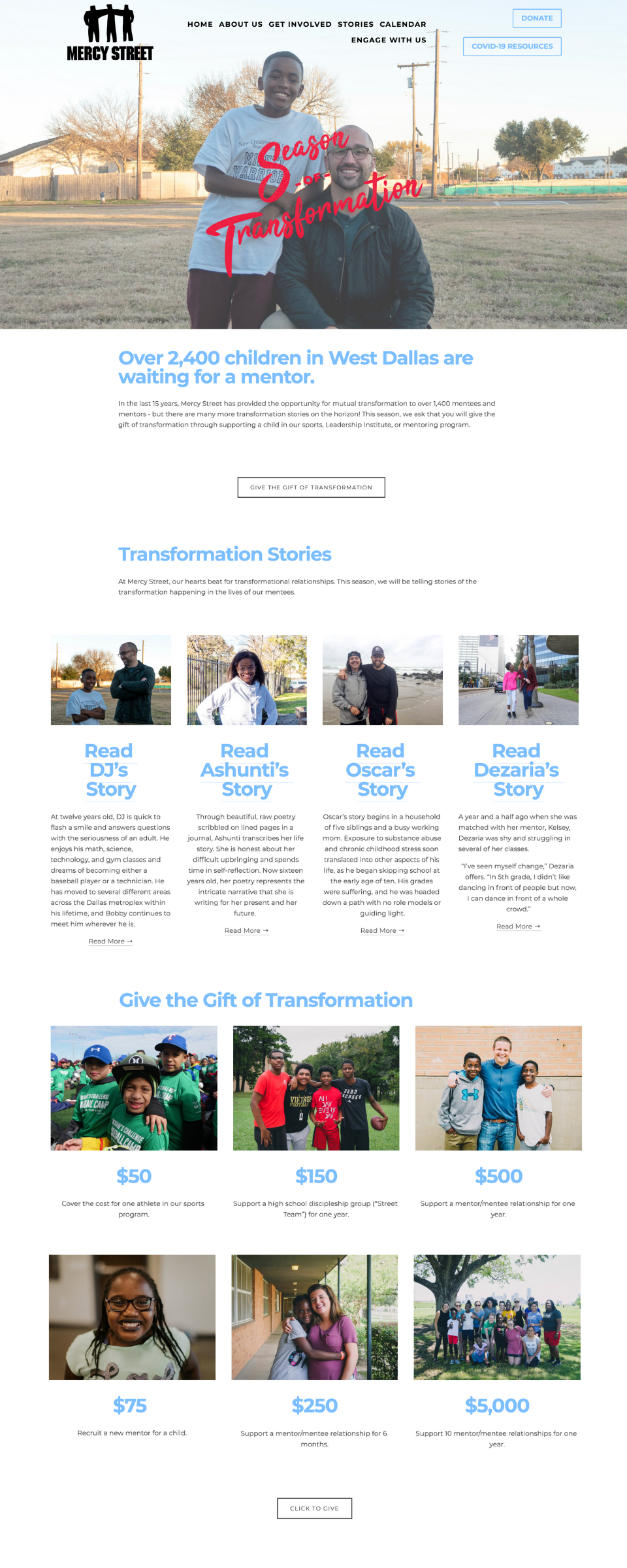 Mercy Street Landing Page: Season of Transformation