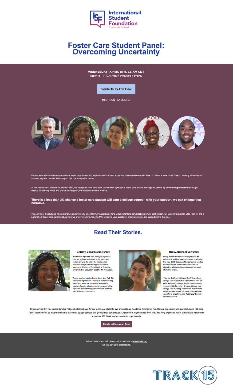 International Student Foundation Landing Page: Student Panel