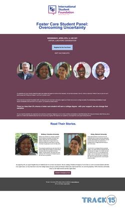 International Student Foundation Landing Page: Student Panel