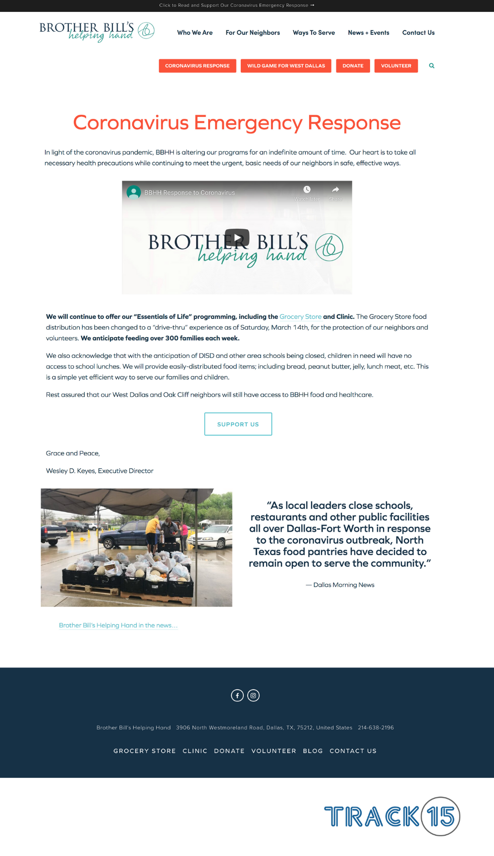 Brother Bill's Helping Hand Landing Page: COVID-19 Response