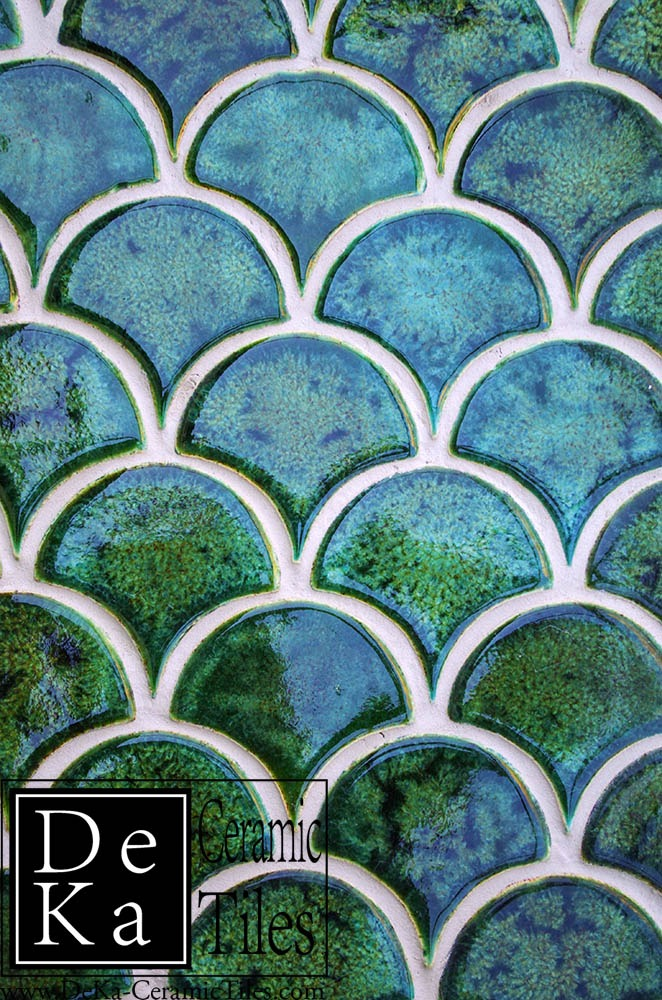 Emerald Fish Scales handmade tiles