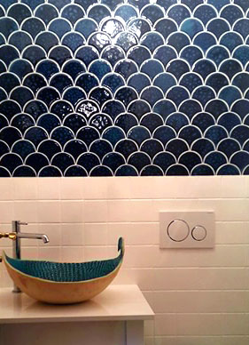 Fish Scales tiles, Ocean glaze