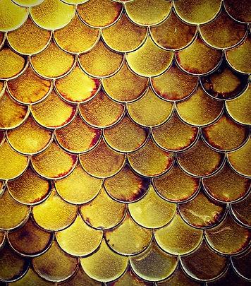 Tawny Amber Fish Scales ceramic handmade