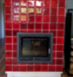 Dahlia fireplace handmade tiles