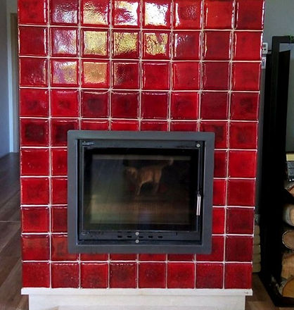 Dahlia fireplace handmade tiles