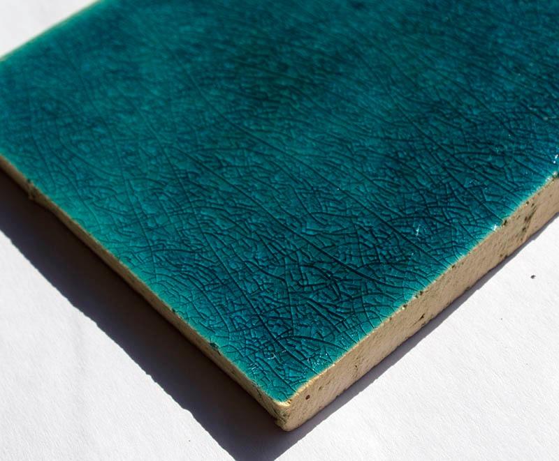 Turquoise Crackle II handmade tiles