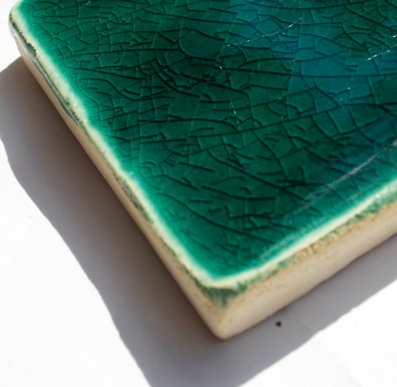 Aquamarine Crackle III handmade tiles