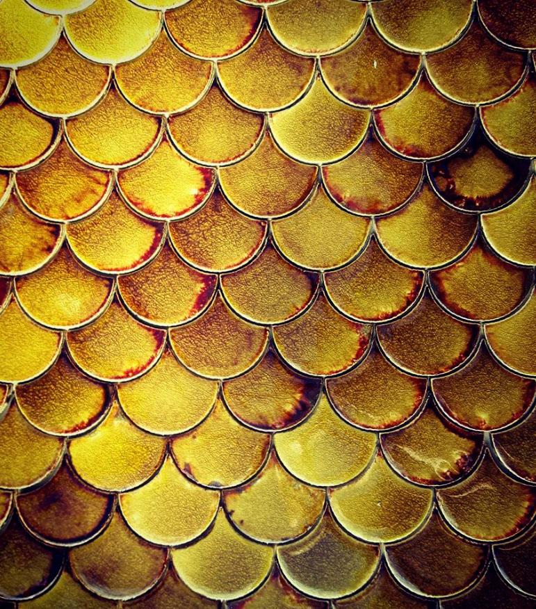 Fish Scales tiles, Tawny Amber glaze