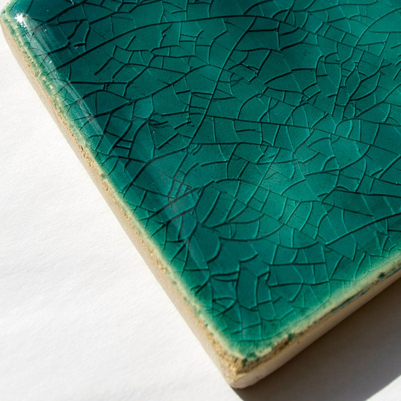 Aquamarine Crackle II handmade tiles
