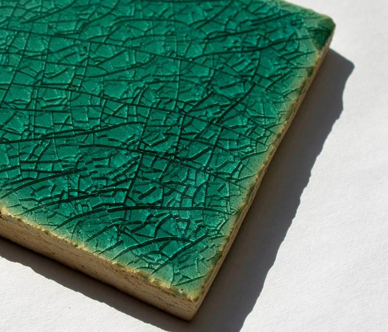 Aquamarine Crackle I handmade ceramic ti