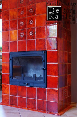 Flaming Orange fireplace handmade cerami