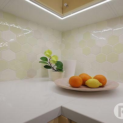 Vanilla Hexagon handmade ceramic tiles