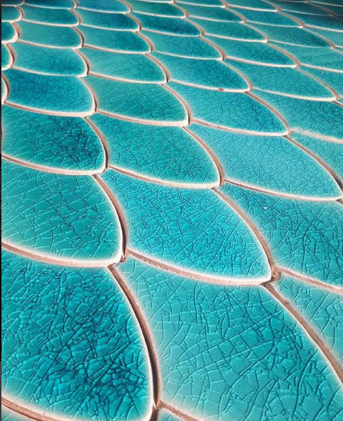 Dragon Scales tiles, Aquamarine