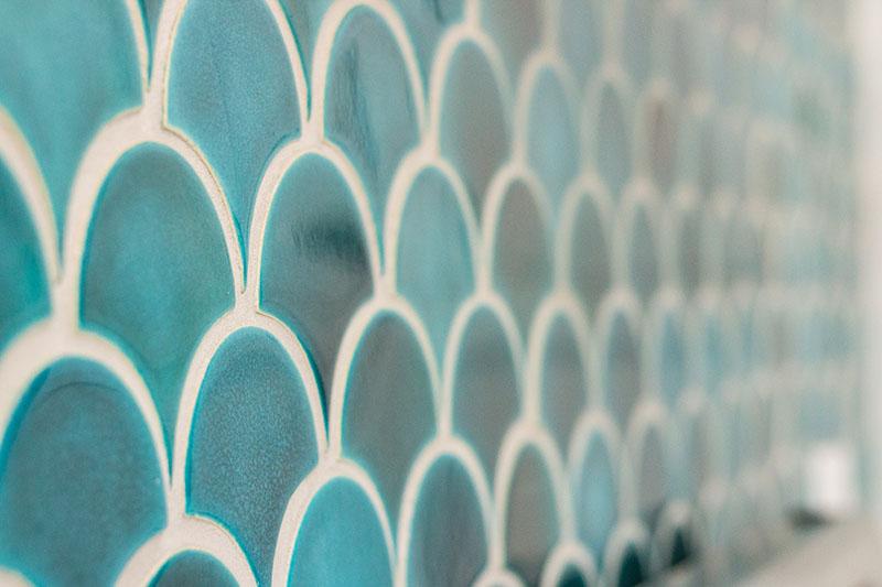Fish Scales tiles, Azure glaze