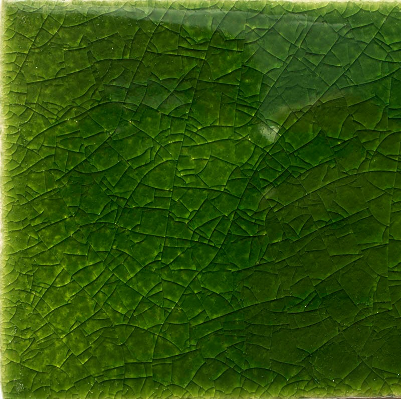 Green Crackle II handmade tiles