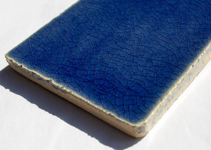 Ultramarine Crackle I handmade tiles
