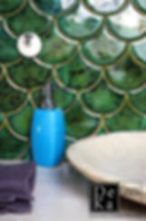 Emerald Fish Scale Handmade Tiles