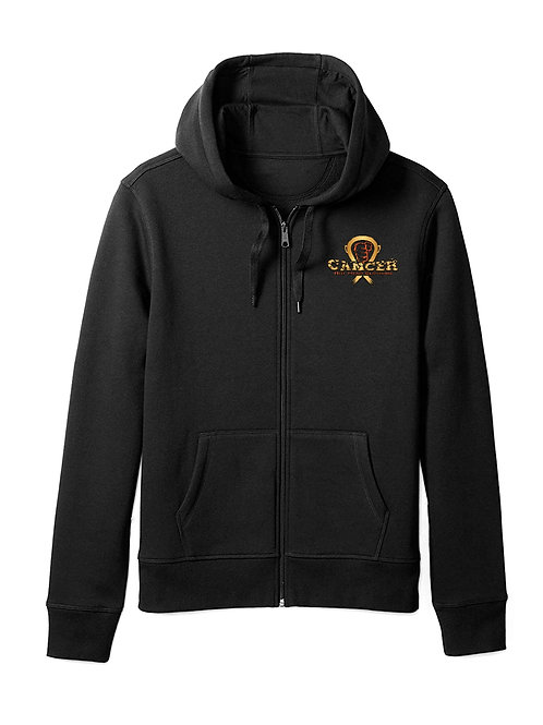 Kids Gold/Orange Zipper Hoodie Cancer Logo