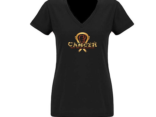 Women's Gold/Orange V-Neck Cancer Logo