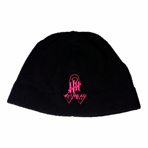 Fleece Beanie/Black with Pink Ribbon Logo