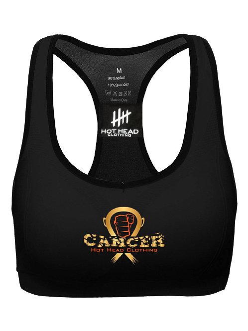 Women's Gold/Orange Sports Bra Cancer Logo
