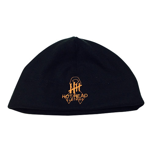 Fleece Beanie/Black with Orange Ribbon Logo