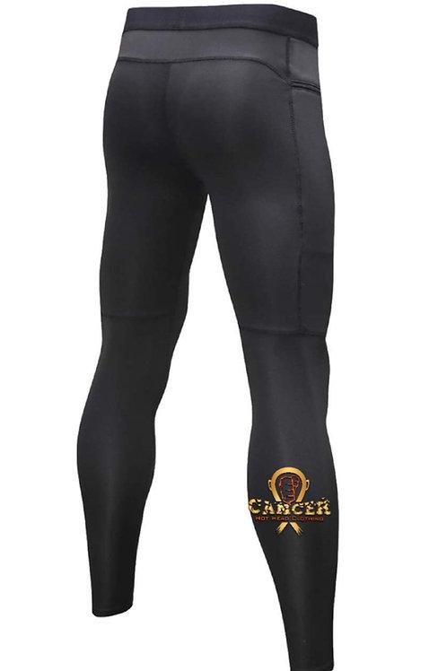 Men's Gold-Orange Cancer Logo Compression Zipper Pants