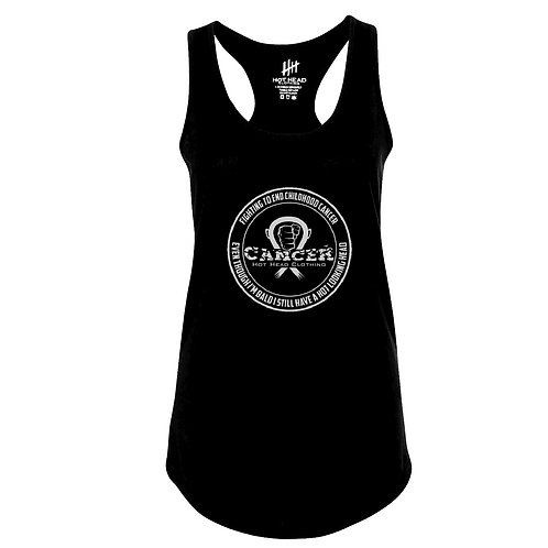 """Women's Gray """"Fighting To End Childhood Cancer Racerback"""