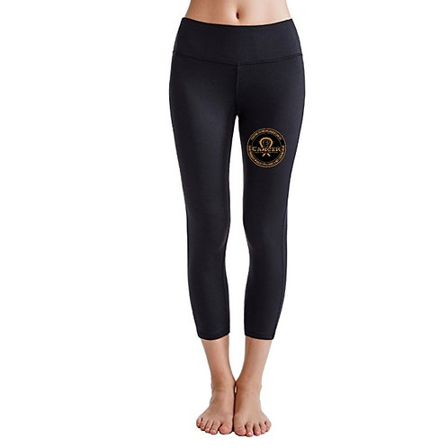 "Gold Logo ""Fighting To End Childhood Cancer"" Solid Black Leggings"