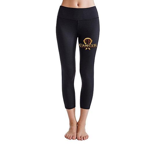 Gold/Orange Cancer Logo Solid Black Leggings