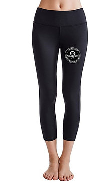 "White Logo"" I'm Fighting To End Cancer"" Solid Black Leggings"