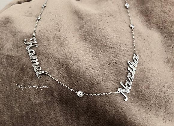 Collier personnalisé deux prénoms strass incrustés et petits diamants
