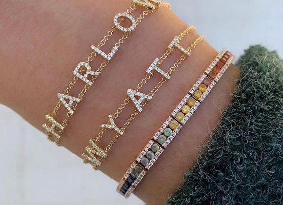Bracelet prénom strass incrustés