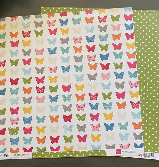 """Echo Park - Fine & Dandy - Fluttering Butterflies - 12"""" x 12"""""""