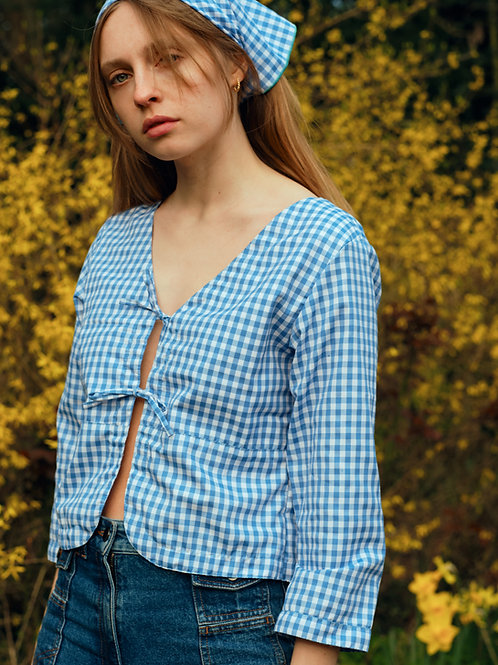 Ava blouse - baby blue gingham