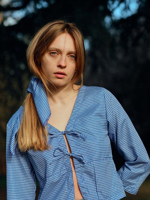 Ava blouse - navy gingham