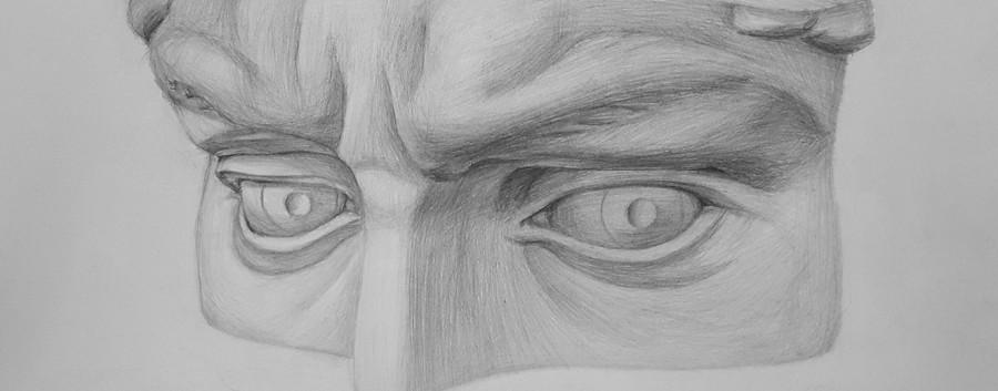 Рисование частей лица карандашом глаза.